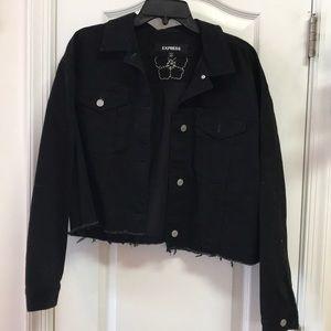 Express Black Denim Cropped Jacket w/raw hem M/L